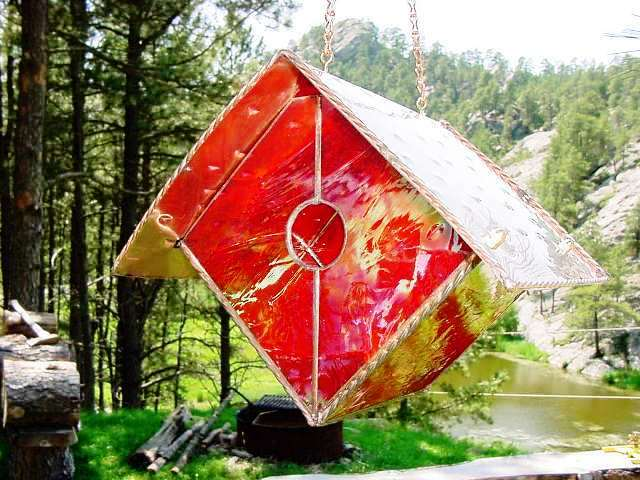 Iridescent Ruby Red Wren Stained Glass Bird House