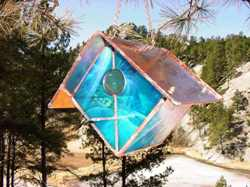 Iridescent Sky Blue Stained Glass Bird House